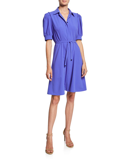 Elie Tahari Mildred Button-Front Short-Sleeve Belted Crepe Dress