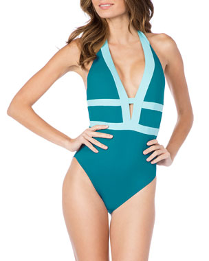 f87ea5e1187 La Blanca Modern Low-Back Halter One-Piece Swimsuit