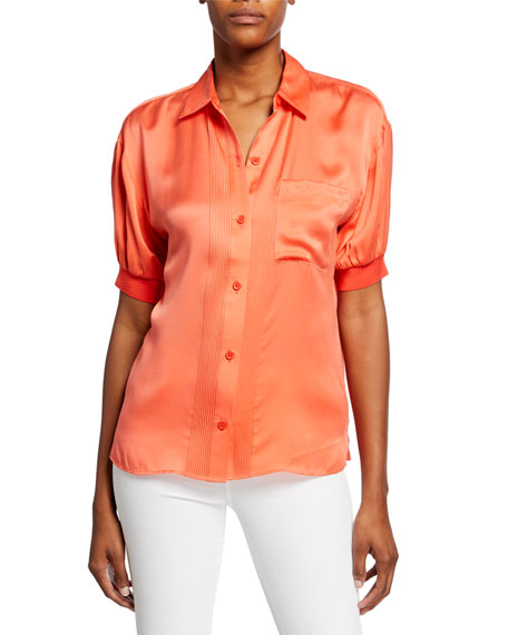 Equipment Abelia Short-Sleeve Button-Front Satin Top