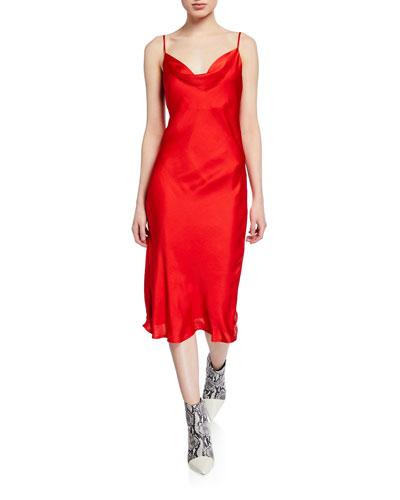 Cowl-Neck Spaghetti-Strap Satin Slip Dress