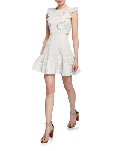 Melanie Lace Ruffle Short Dress