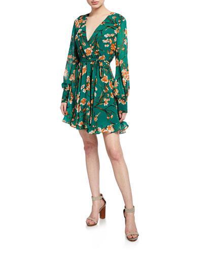Becky Floral-Print Long-Sleeve Ruffle Dress