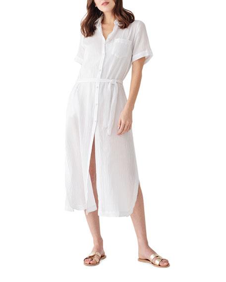 DL1961 Premium Denim Fire Island Tie-Waist Duster Shirt Dress