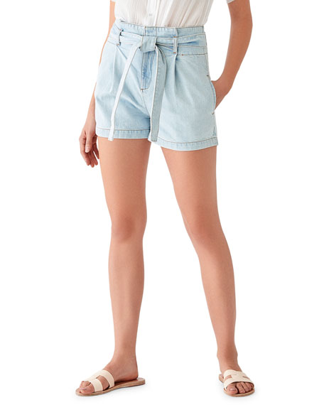 DL1961 Premium Denim Camile Belted High-Waist Shorts