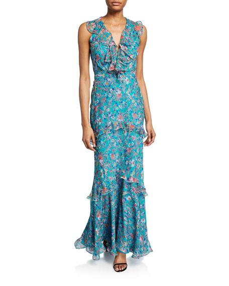 Saloni Rita Tiered Ruffle Cocktail Dress