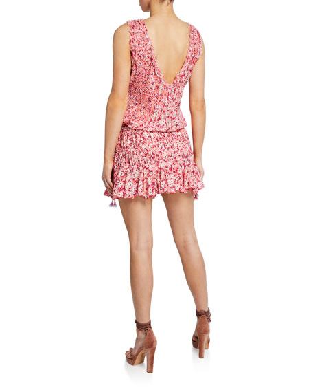 Poupette St Barth Soledad Open-Back Floral Mini Dress