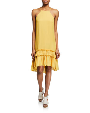 ac6b7b97949b Halston Heritage Georgette High-Low Halter Dress w  Pleated Ruffle Hem