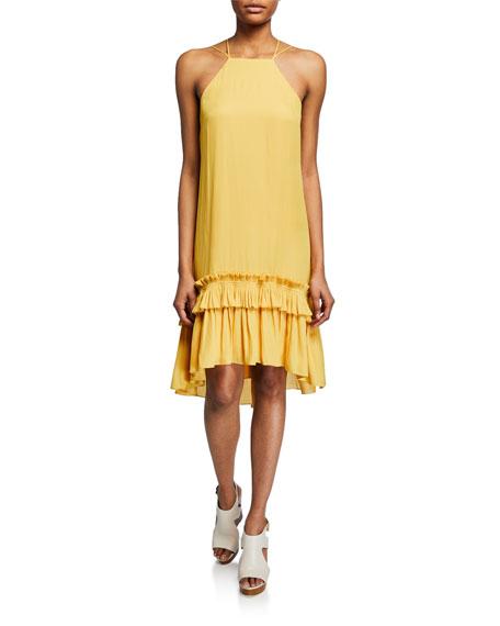 Halston Heritage Georgette High-Low Halter Dress w/ Pleated Ruffle Hem