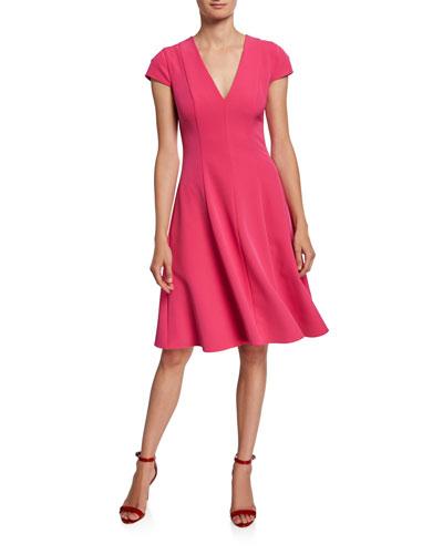 Kayley Short-Sleeve Full Skirt Scuba Dress