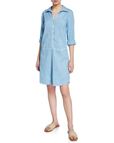 Button-Front Long-Sleeve Stretch Linen/Cotton Shirtdress