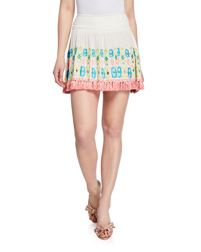Paola Embroidered Short Skirt with Fringe