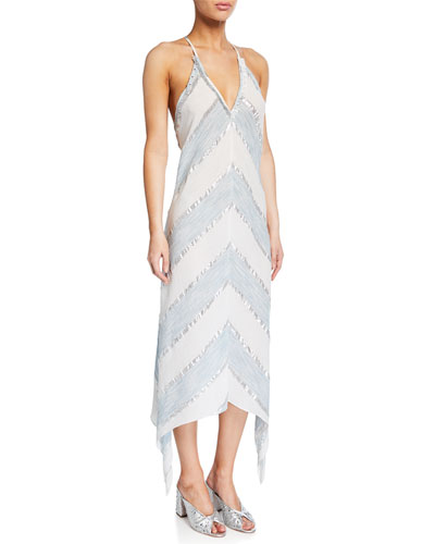 Kiana Metallic Chevron Sleeveless Dress