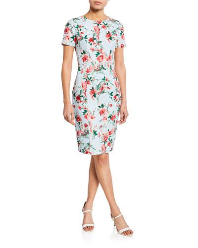 Jodee Floral-Print Short-Sleeve Sheath Dress