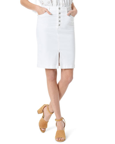 High-Rise Split-Front Pencil Skirt