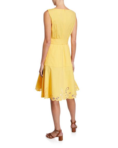Josie Natori Sleeveless Belted Stretch-Cotton Lace-Hem Dress