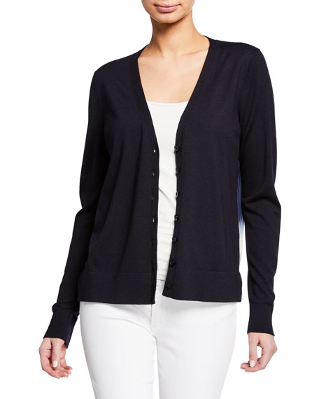 Tory Burch V-Neck Button-Front Silk Printed-Back Merino Wool Cardigan