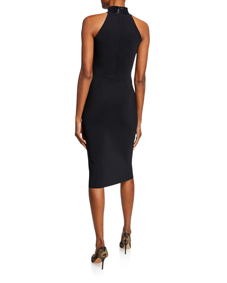 Chiara Boni La Petite Robe Tiffani Beaded-Neck Halter Cocktail Dress