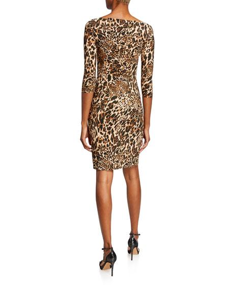 Chiara Boni La Petite Robe Emerentienne Leopard-Print 3/4-Sleeve Dress