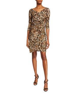 69f563f1f6 Chiara Boni La Petite Robe Emerentienne Leopard-Print 3 4-Sleeve Dress