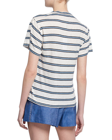 Image 2 of 2: Derek Lam 10 Crosby Striped Crewneck Short-Sleeve Tee w/ Slit Detail
