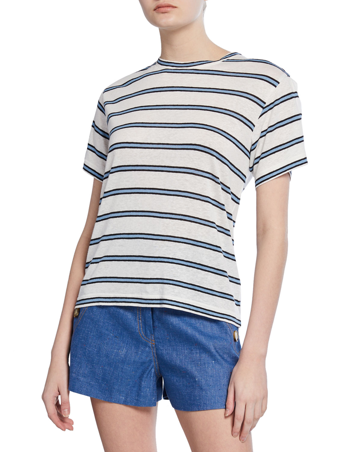 Derek Lam 10 Crosby Striped Crewneck Short-Sleeve Tee w/ Slit Detail