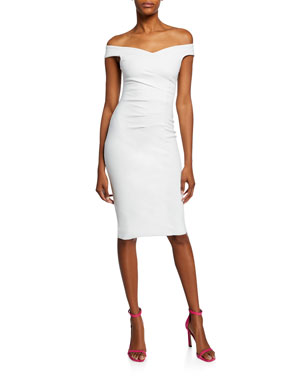 a76c7ae1b97 Chiara Boni La Petite Robe Maureen Off-Shoulder Cocktail Dress with Darts