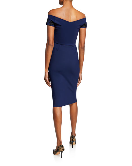 Chiara Boni La Petite Robe Thira Off-the-Shoulder Cap-Sleeve Cocktail Dress