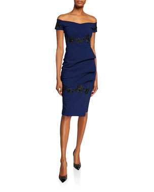 7242387087f Chiara Boni La Petite Robe Thira Off-the-Shoulder Cap-Sleeve Cocktail Dress