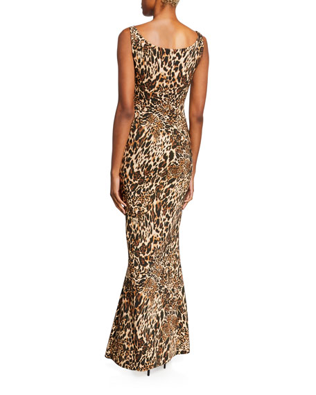 Image 2 of 3: Chiara Boni La Petite Robe Manishanor Leopard-Print Scoop-Neck Sleeveless Trumpet Gown