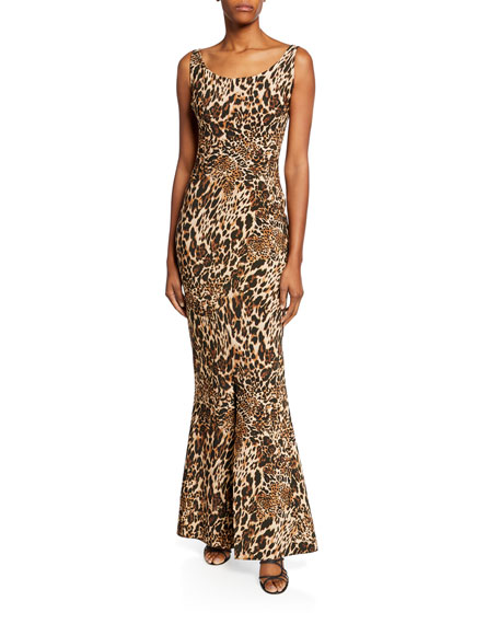Chiara Boni La Petite Robe Manishanor Leopard-Print Scoop-Neck Sleeveless Trumpet Gown