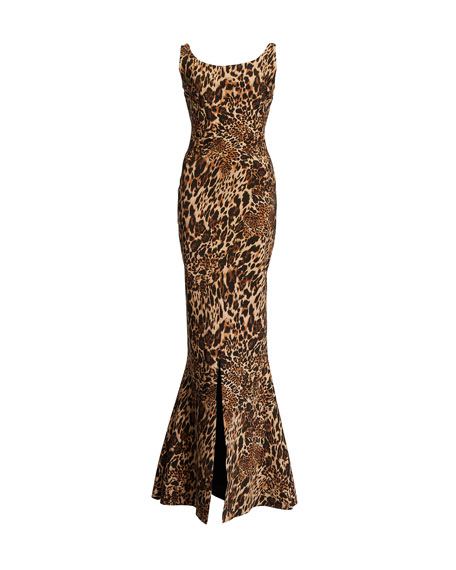 Image 3 of 3: Chiara Boni La Petite Robe Manishanor Leopard-Print Scoop-Neck Sleeveless Trumpet Gown