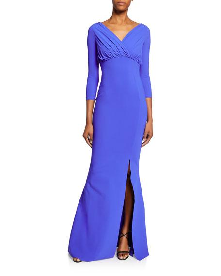 Chiara Boni La Petite Robe Frantiiska V-Neck 3/4-Sleeve Shirred Bustier Mermaid Gown