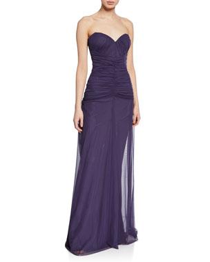 ccb2953584d Chiara Boni La Petite Robe Deni Strapless Ruched Tulle Bustier Column Gown
