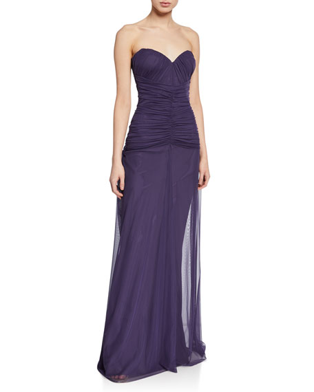 Chiara Boni La Petite Robe Deni Strapless Ruched Tulle Bustier Column Gown