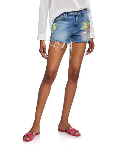 High-Waist Embroidered Shorts w/ Frayed Hem
