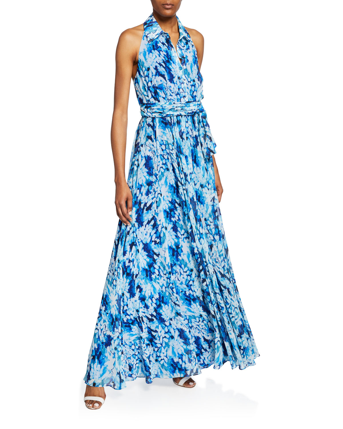 Badgley Mischka Collection Printed Button-Front Halter Shirt Gown