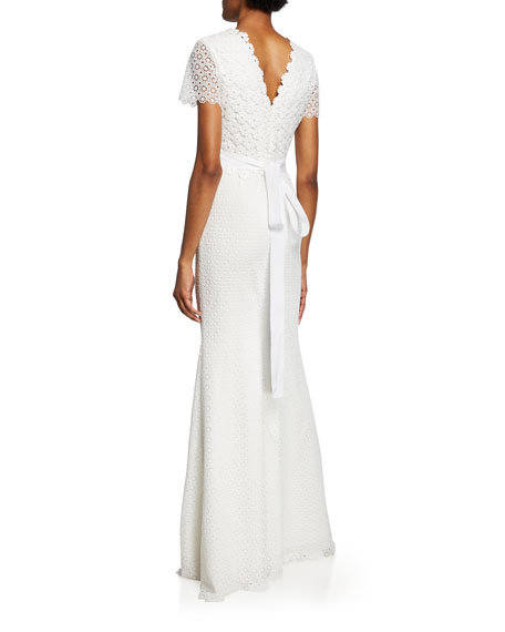 Badgley Mischka Collection Floral Lace V-Neck Short-Sleeve Gown w/ Jeweled Belt