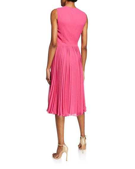 Badgley Mischka Collection Crewneck Sleeveless Pleated Cocktail Dress