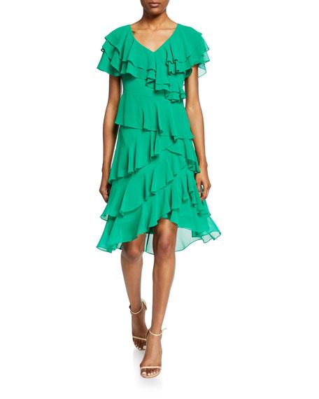 Badgley Mischka Collection Cattiva V-Neck Short-Sleeve High-Low Tiered Ruffle Dress