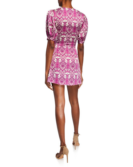 Alexis Printed V-Neck Dress w/ Tie & Buttons
