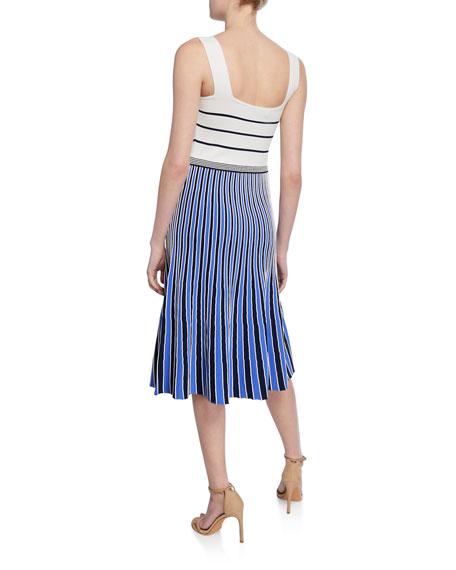 Diane von Furstenberg Yasmin Striped Colorblock Sleeveless Knit Dress