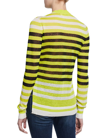 Image 2 of 2: Diane von Furstenberg Kayla Striped Crewneck Sweater