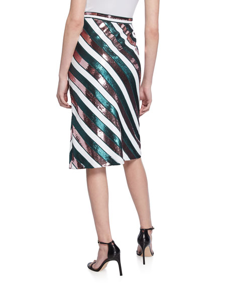 Diane von Furstenberg Sheen Sequin Stripe Knee-Length Skirt