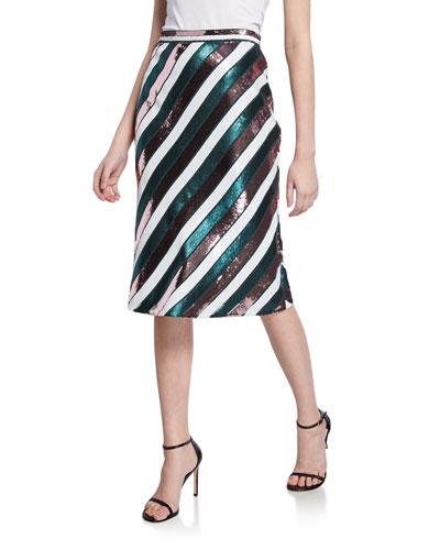 Sheen Sequin Stripe Knee-Length Skirt
