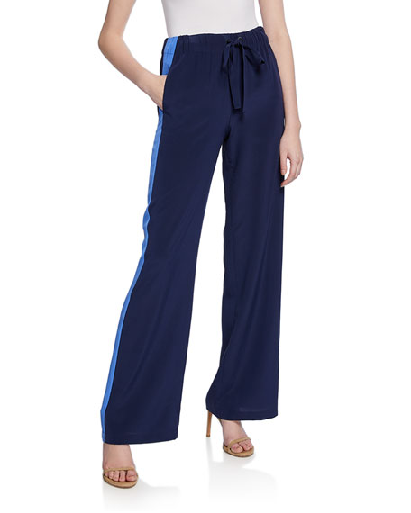 Diane von Furstenberg Ellington Silk Track Pants with Side Stripes