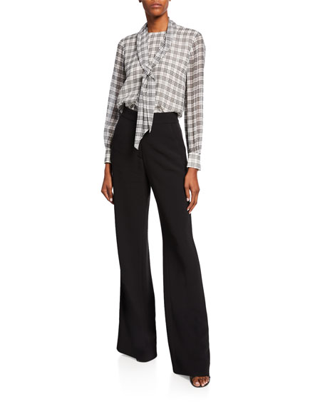 St. John Collection Stretch-Viscose Blend Crepe Flare Pants w/ Side Panel