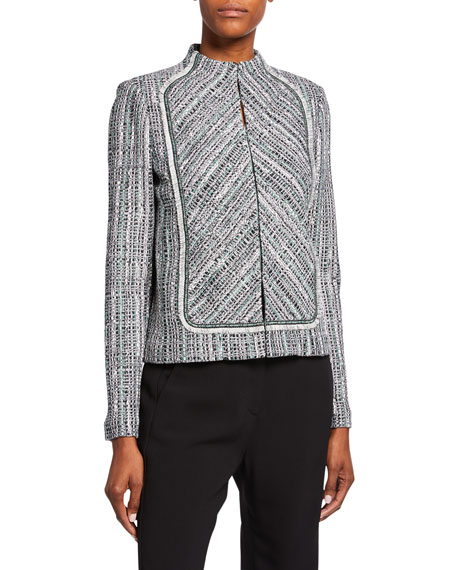 Image 1 of 2: St. John Collection Ribbon Textured Inlay Jacket with Bib & Fringe Trim
