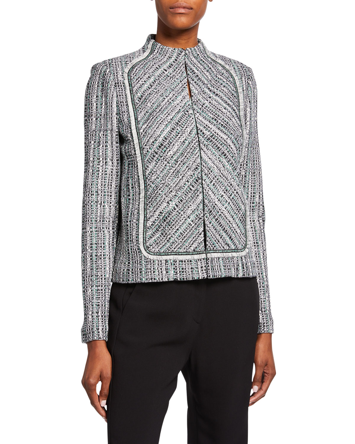 St. John Collection Ribbon Textured Inlay Jacket with Bib & Fringe Trim