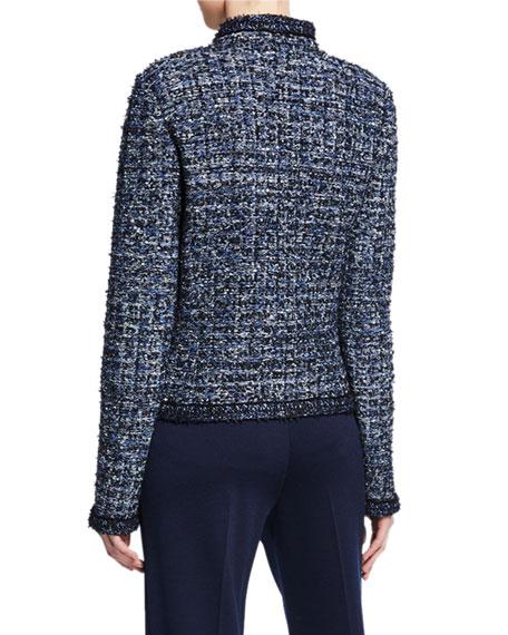 St. John Collection Novelty Ribbon Tweed Knit Jacket with Pockets