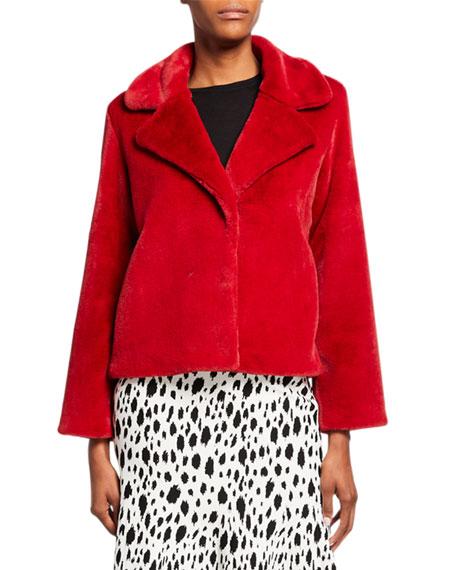 St. John Collection Faux Beaver Fur Short Coat with Large Lapels